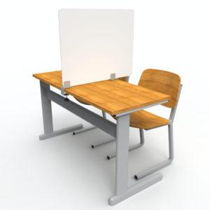 Schultisch Trennwand weiß